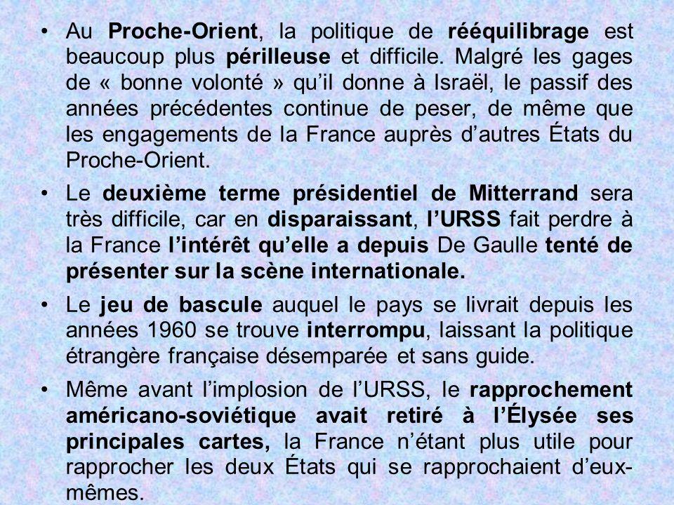 Au Proche-Orient, la politique de rééquilibrage est beaucoup plus périlleuse et difficile. Malgré les gages de « bonne volonté » qu'il donne à Israël, le passif des années précédentes continue de peser, de même que les engagements de la France auprès d'autres États du Proche-Orient.