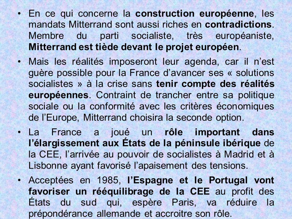 En ce qui concerne la construction européenne, les mandats Mitterrand sont aussi riches en contradictions. Membre du parti socialiste, très européaniste, Mitterrand est tiède devant le projet européen.