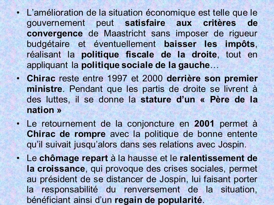 L'amélioration de la situation économique est telle que le gouvernement peut satisfaire aux critères de convergence de Maastricht sans imposer de rigueur budgétaire et éventuellement baisser les impôts, réalisant la politique fiscale de la droite, tout en appliquant la politique sociale de la gauche…