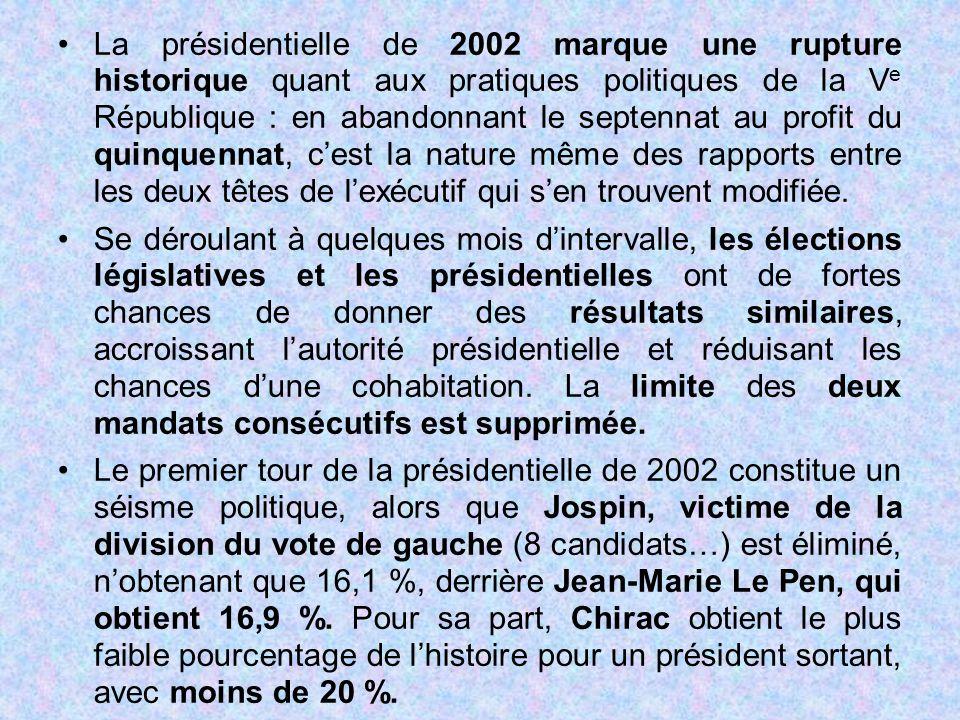 La présidentielle de 2002 marque une rupture historique quant aux pratiques politiques de la Ve République : en abandonnant le septennat au profit du quinquennat, c'est la nature même des rapports entre les deux têtes de l'exécutif qui s'en trouvent modifiée.