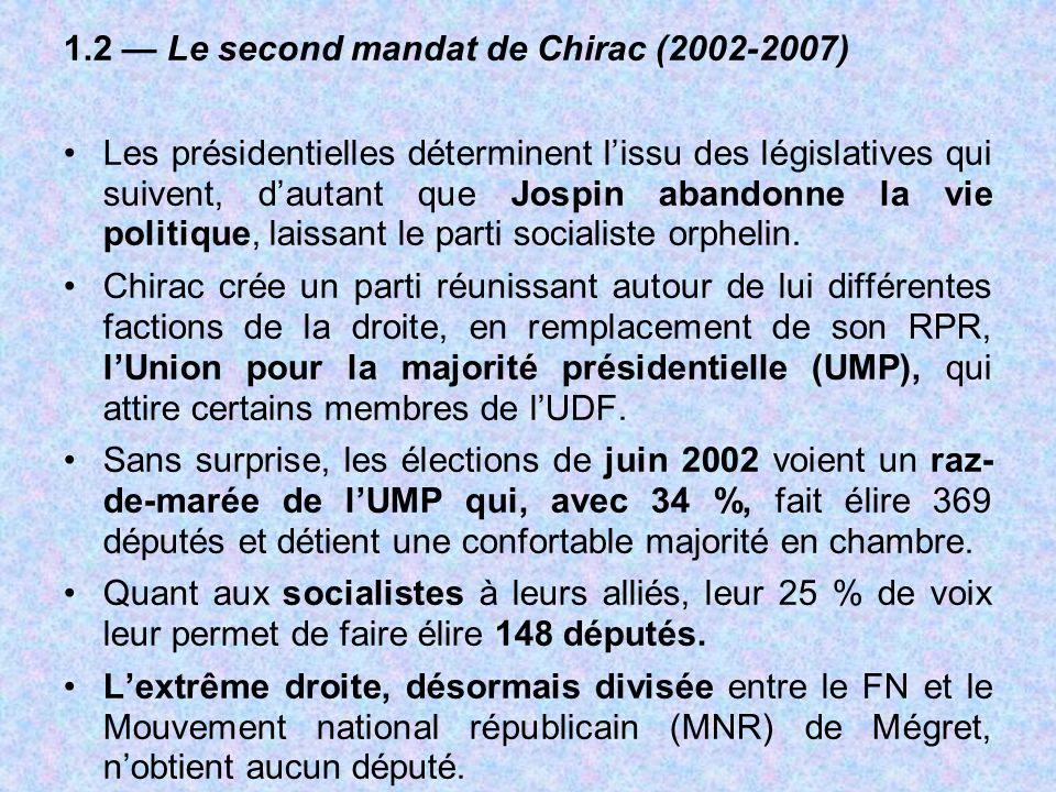 1.2 — Le second mandat de Chirac (2002-2007)