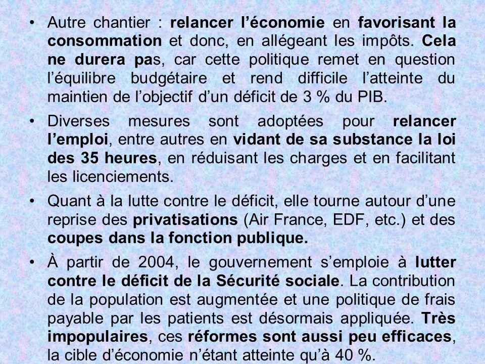 Autre chantier : relancer l'économie en favorisant la consommation et donc, en allégeant les impôts. Cela ne durera pas, car cette politique remet en question l'équilibre budgétaire et rend difficile l'atteinte du maintien de l'objectif d'un déficit de 3 % du PIB.