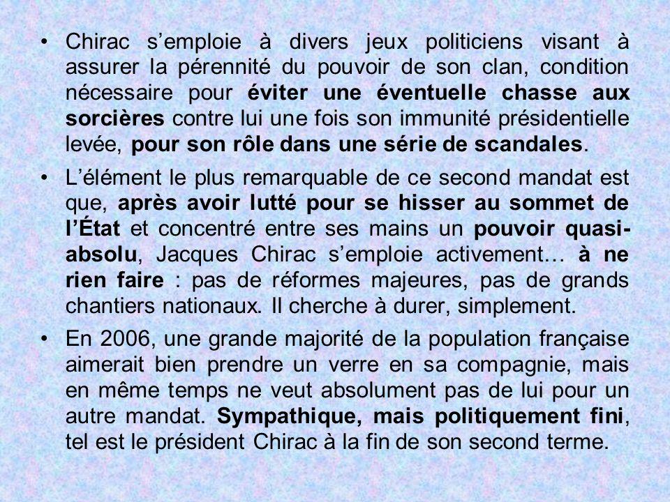 Chirac s'emploie à divers jeux politiciens visant à assurer la pérennité du pouvoir de son clan, condition nécessaire pour éviter une éventuelle chasse aux sorcières contre lui une fois son immunité présidentielle levée, pour son rôle dans une série de scandales.