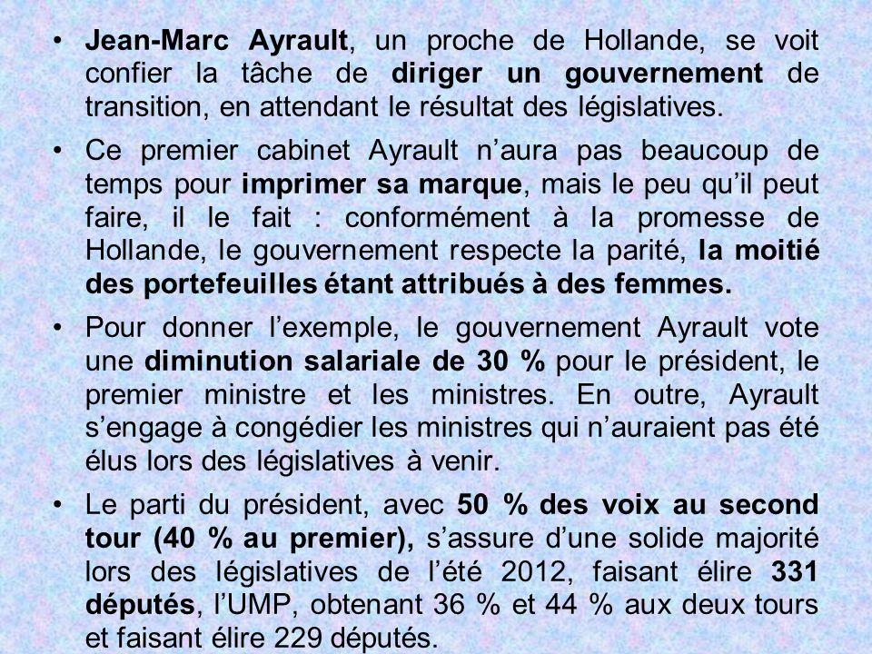 Jean-Marc Ayrault, un proche de Hollande, se voit confier la tâche de diriger un gouvernement de transition, en attendant le résultat des législatives.