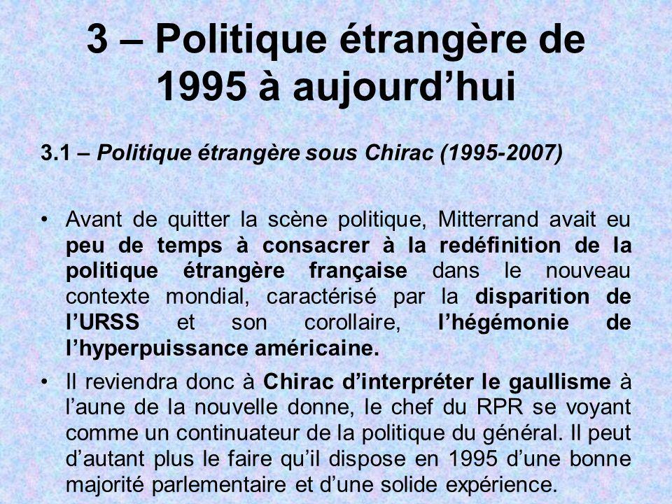 3 – Politique étrangère de 1995 à aujourd'hui