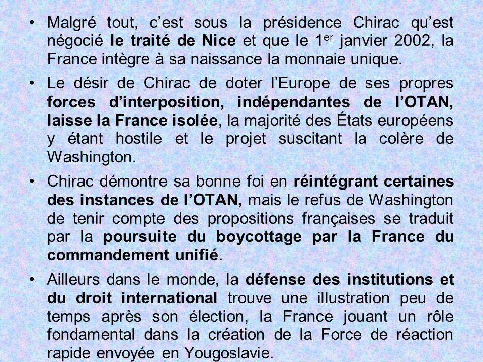 Malgré tout, c'est sous la présidence Chirac qu'est négocié le traité de Nice et que le 1er janvier 2002, la France intègre à sa naissance la monnaie unique.