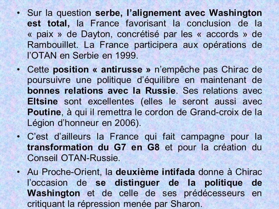 Sur la question serbe, l'alignement avec Washington est total, la France favorisant la conclusion de la « paix » de Dayton, concrétisé par les « accords » de Rambouillet. La France participera aux opérations de l'OTAN en Serbie en 1999.