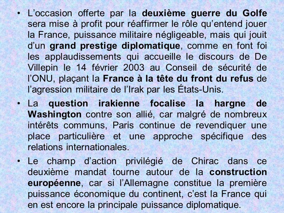L'occasion offerte par la deuxième guerre du Golfe sera mise à profit pour réaffirmer le rôle qu'entend jouer la France, puissance militaire négligeable, mais qui jouit d'un grand prestige diplomatique, comme en font foi les applaudissements qui accueille le discours de De Villepin le 14 février 2003 au Conseil de sécurité de l'ONU, plaçant la France à la tête du front du refus de l'agression militaire de l'Irak par les États-Unis.