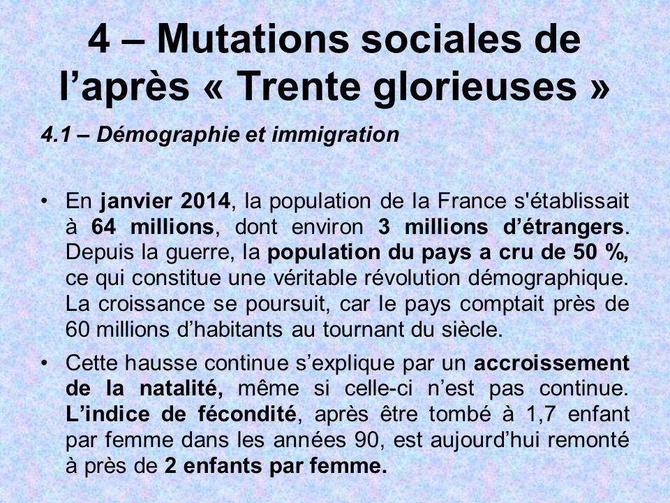4 – Mutations sociales de l'après « Trente glorieuses »