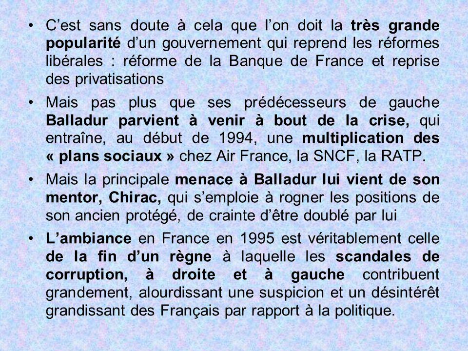 C'est sans doute à cela que l'on doit la très grande popularité d'un gouvernement qui reprend les réformes libérales : réforme de la Banque de France et reprise des privatisations