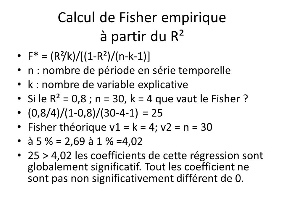 Calcul de Fisher empirique à partir du R²