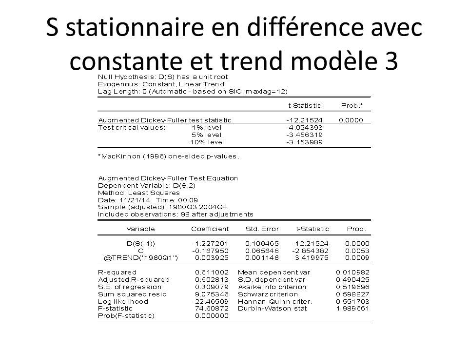 S stationnaire en différence avec constante et trend modèle 3