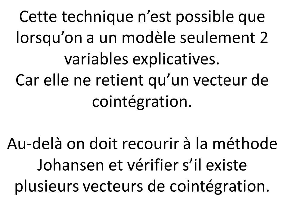 Cette technique n'est possible que lorsqu'on a un modèle seulement 2 variables explicatives.