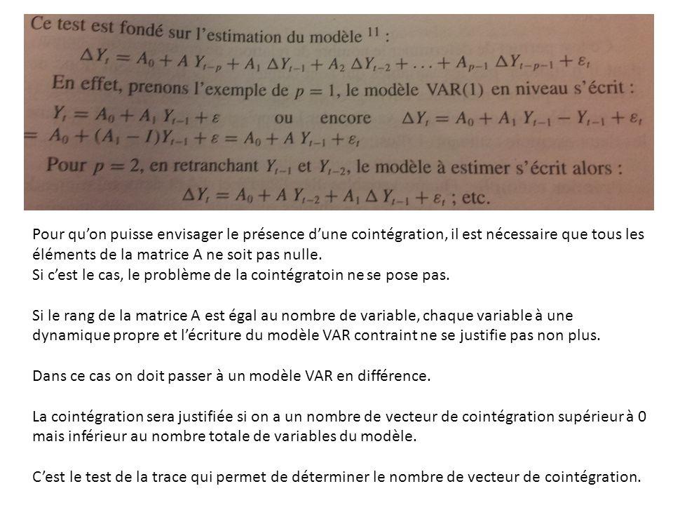 Pour qu'on puisse envisager le présence d'une cointégration, il est nécessaire que tous les éléments de la matrice A ne soit pas nulle.