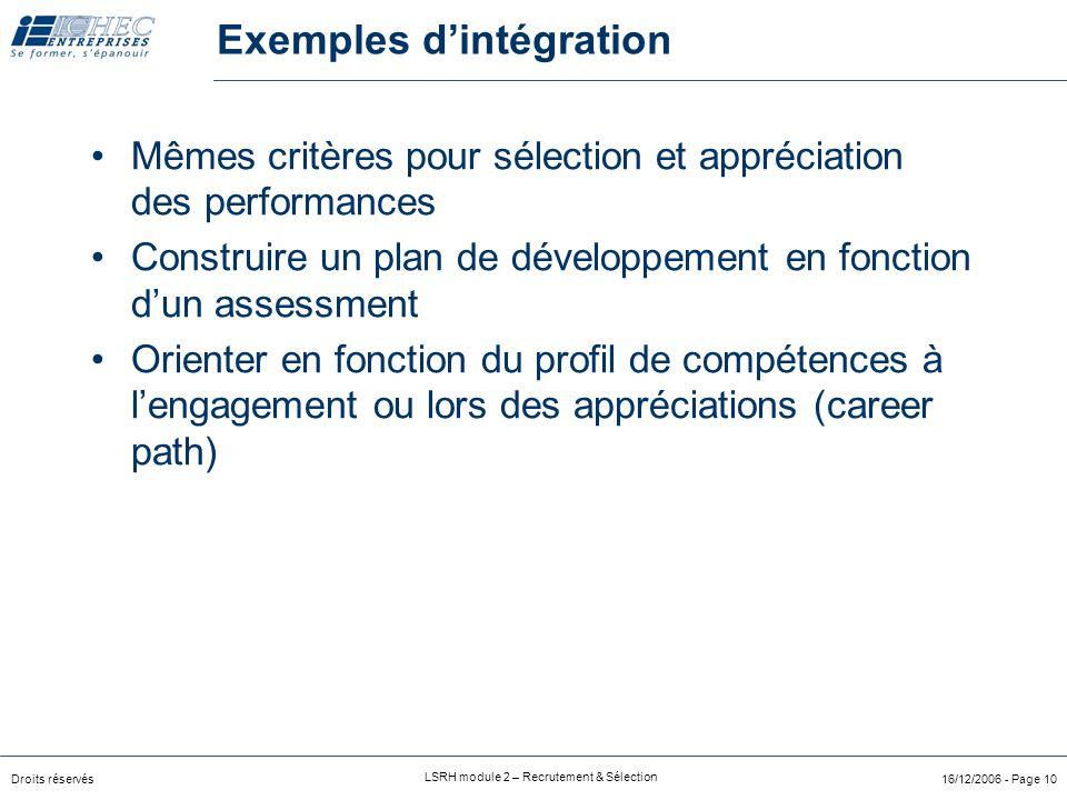 Exemples d'intégration