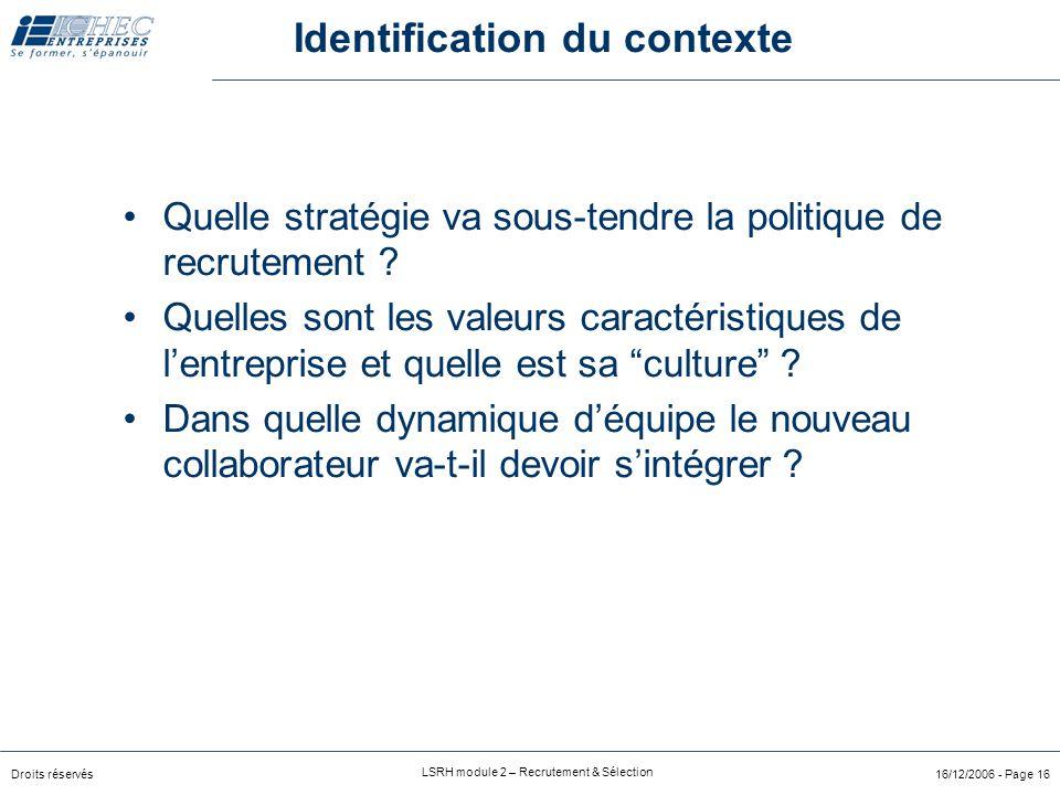 Identification du contexte