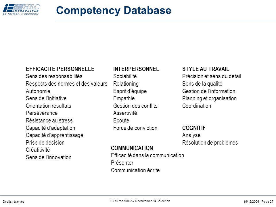 Competency Database EFFICACITE PERSONNELLE Sens des responsabilités