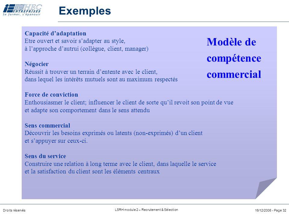 Exemples Modèle de compétence commercial Capacité d'adaptation