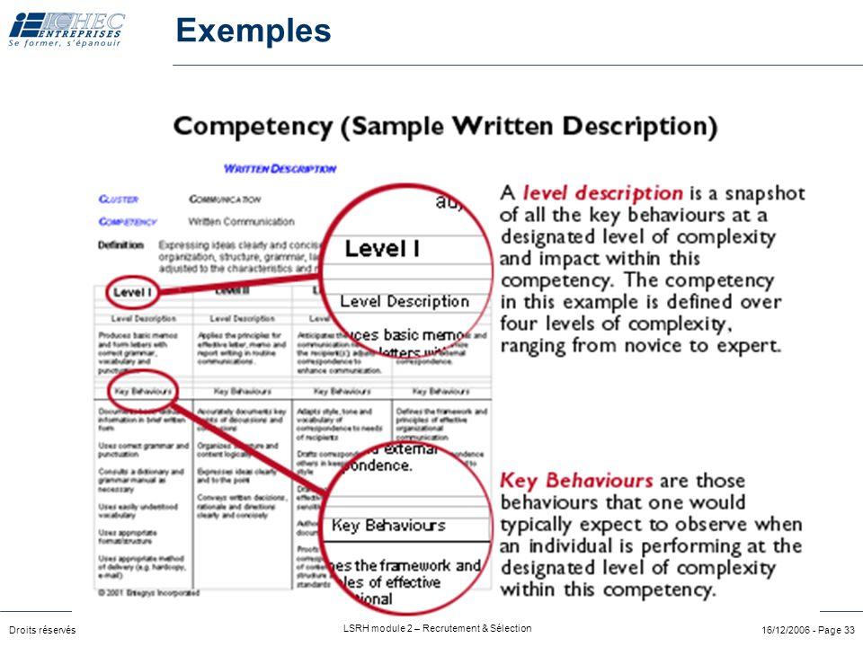 Exemples Exemple de compétence décrite de facon plus détaillée avec échelle et indicateur comportemental.