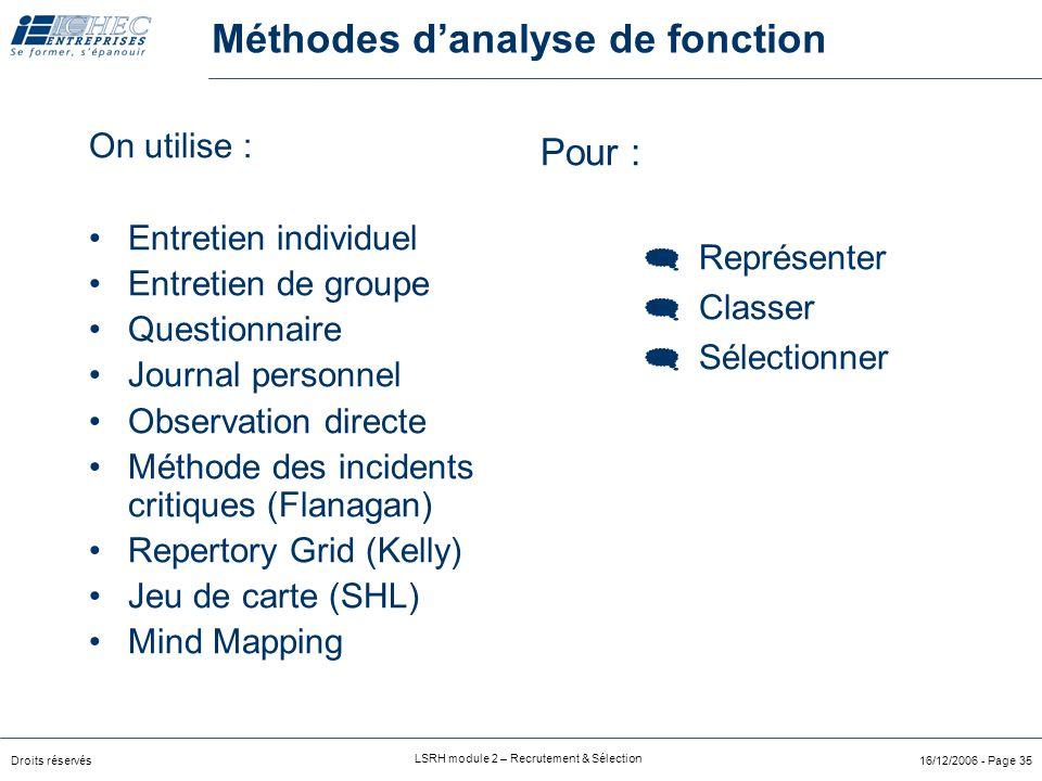 Méthodes d'analyse de fonction