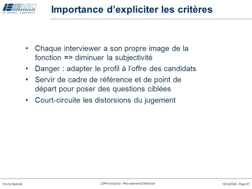 Importance d'expliciter les critères