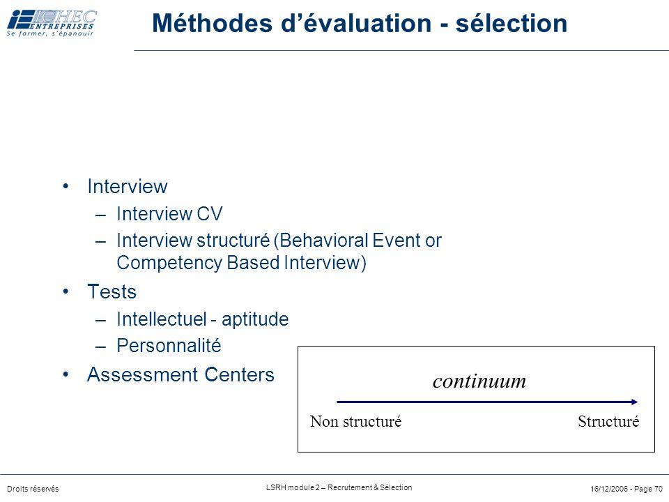 Méthodes d'évaluation - sélection