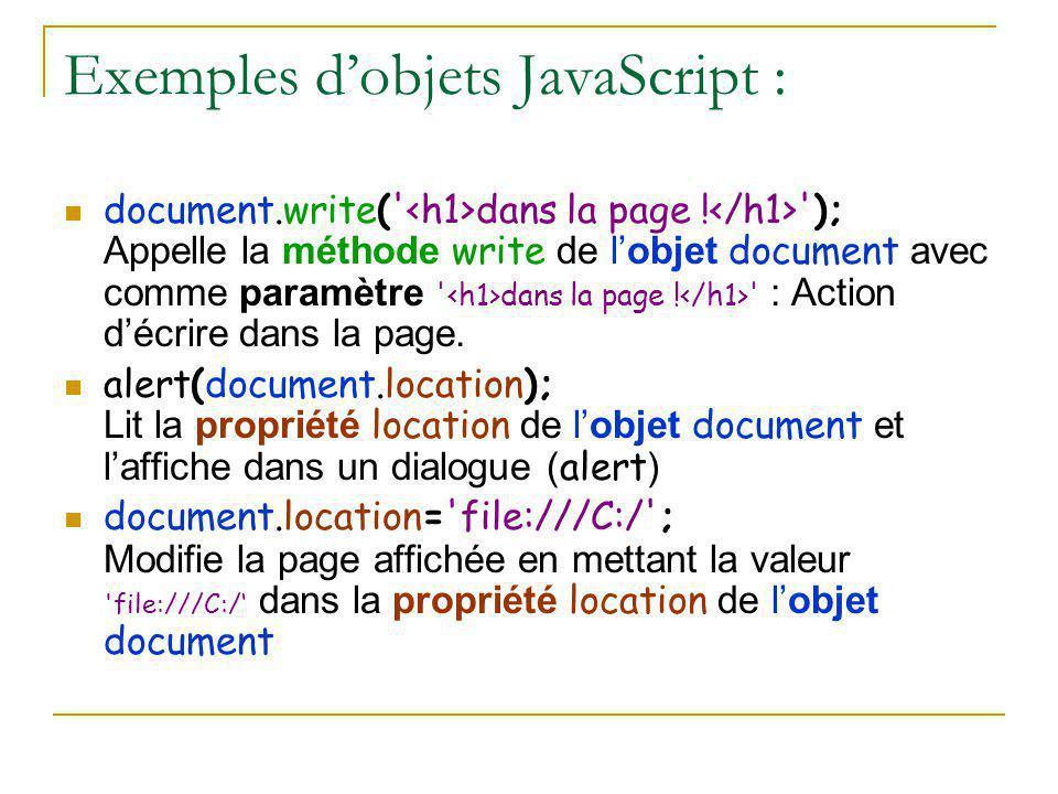 Exemples d'objets JavaScript :