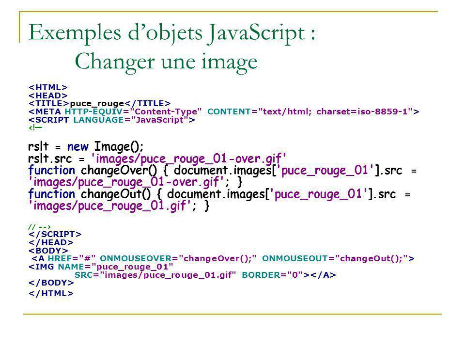 Exemples d'objets JavaScript : Changer une image