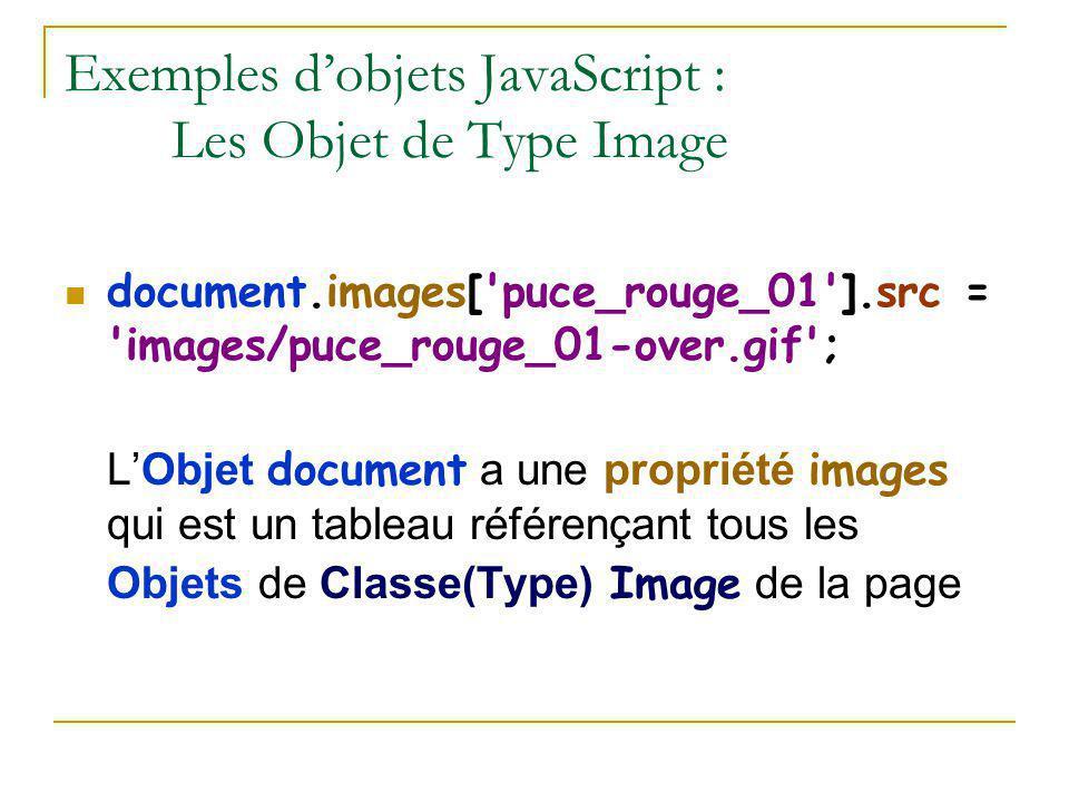 Exemples d'objets JavaScript : Les Objet de Type Image