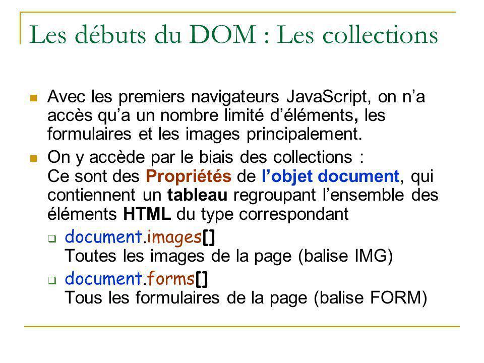 Les débuts du DOM : Les collections
