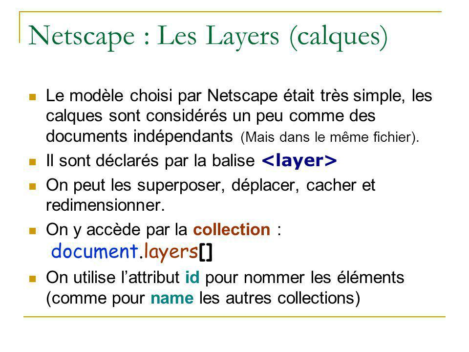 Netscape : Les Layers (calques)