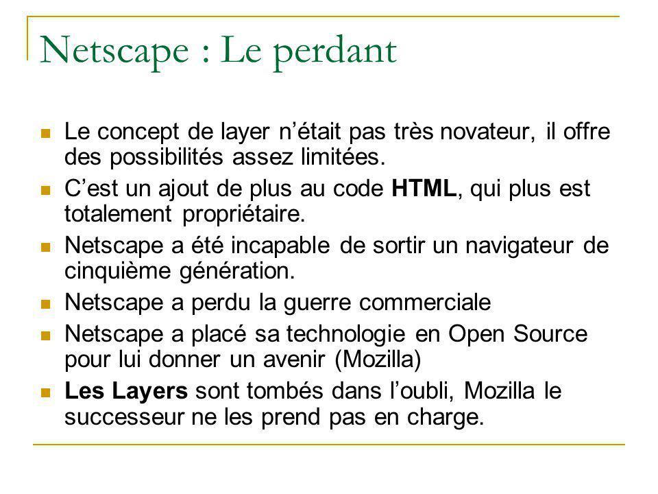 Netscape : Le perdant Le concept de layer n'était pas très novateur, il offre des possibilités assez limitées.