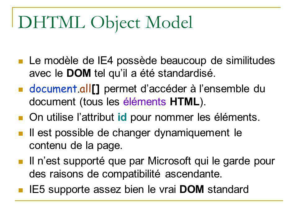 DHTML Object Model Le modèle de IE4 possède beaucoup de similitudes avec le DOM tel qu'il a été standardisé.