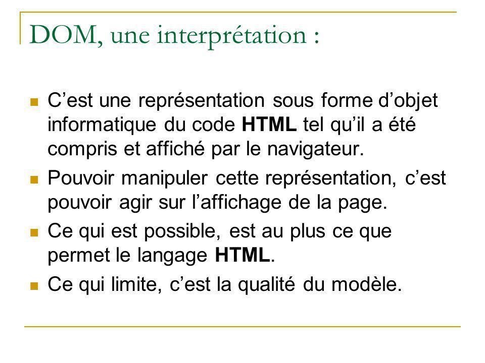 DOM, une interprétation :
