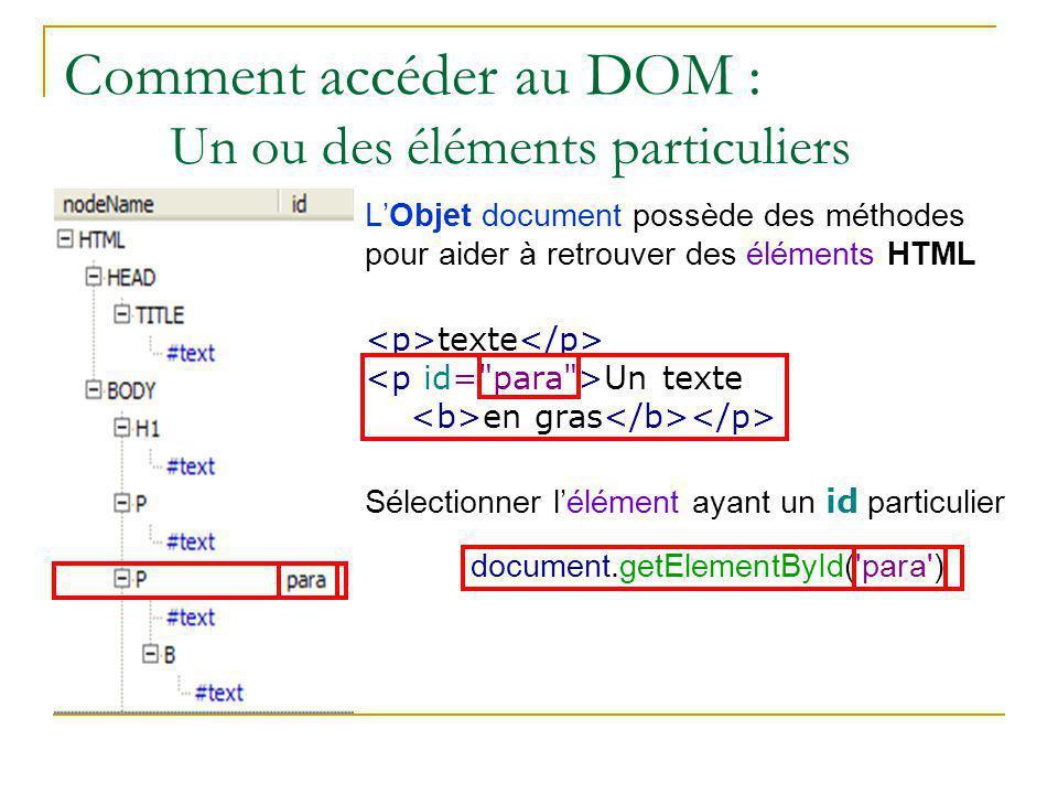 Comment accéder au DOM : Un ou des éléments particuliers