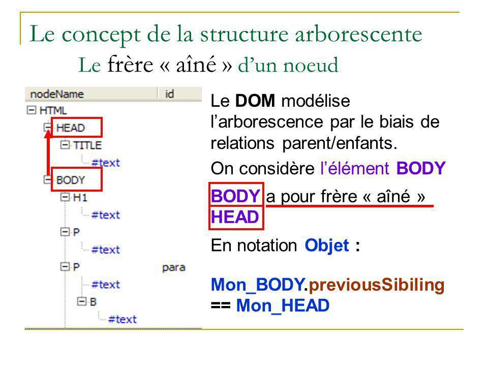 Le concept de la structure arborescente Le frère « aîné » d'un noeud
