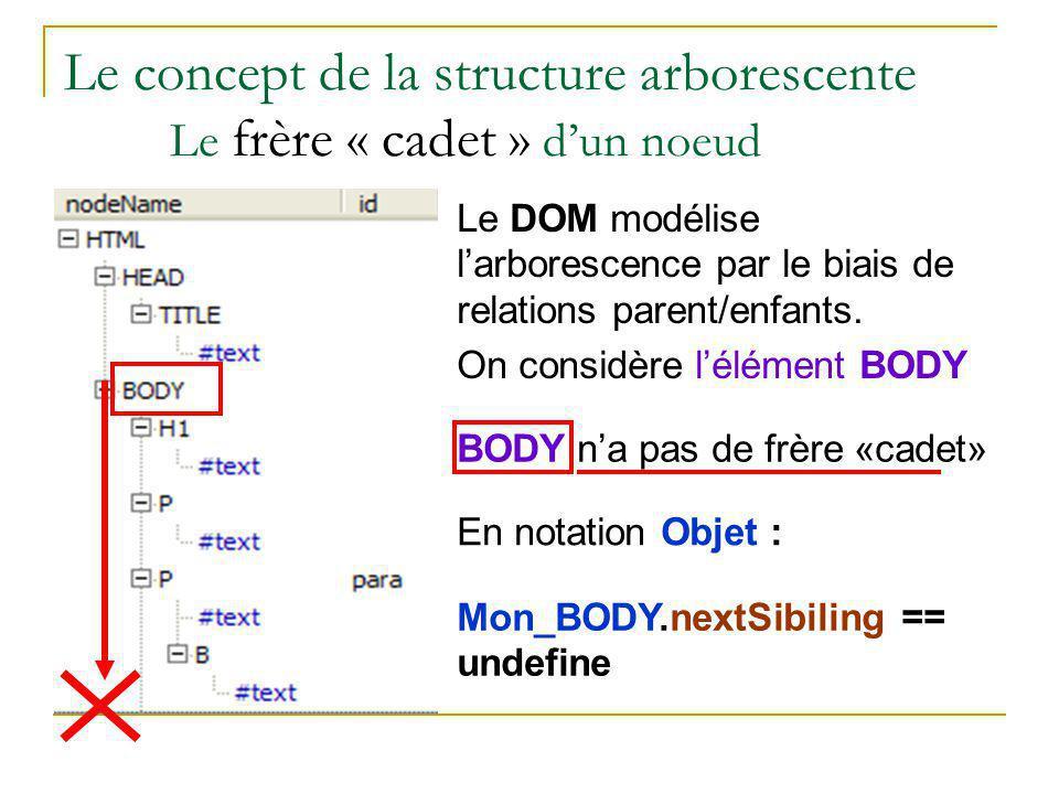 Le concept de la structure arborescente Le frère « cadet » d'un noeud