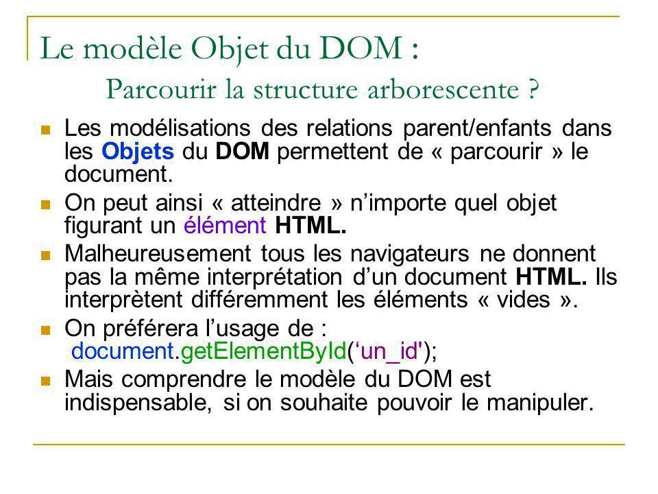 Le modèle Objet du DOM : Parcourir la structure arborescente