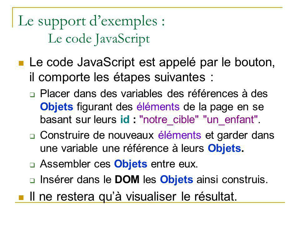 Le support d'exemples : Le code JavaScript