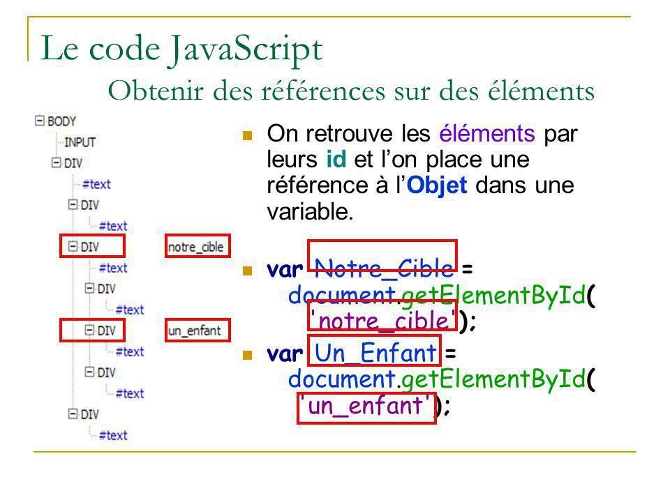 Le code JavaScript Obtenir des références sur des éléments