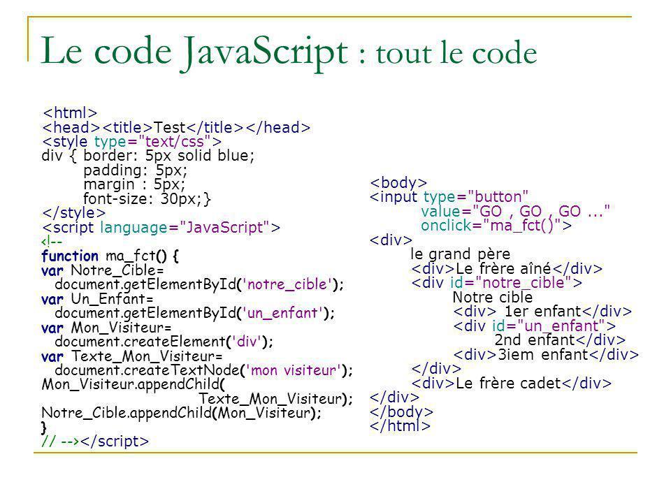 Le code JavaScript : tout le code