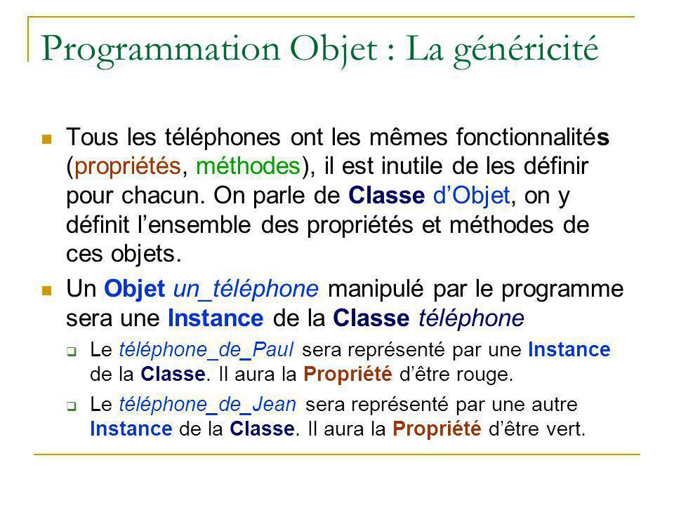 Programmation Objet : La généricité