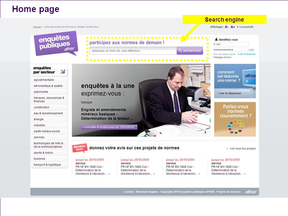 Home page Search engine A. Naël - T. Bergier