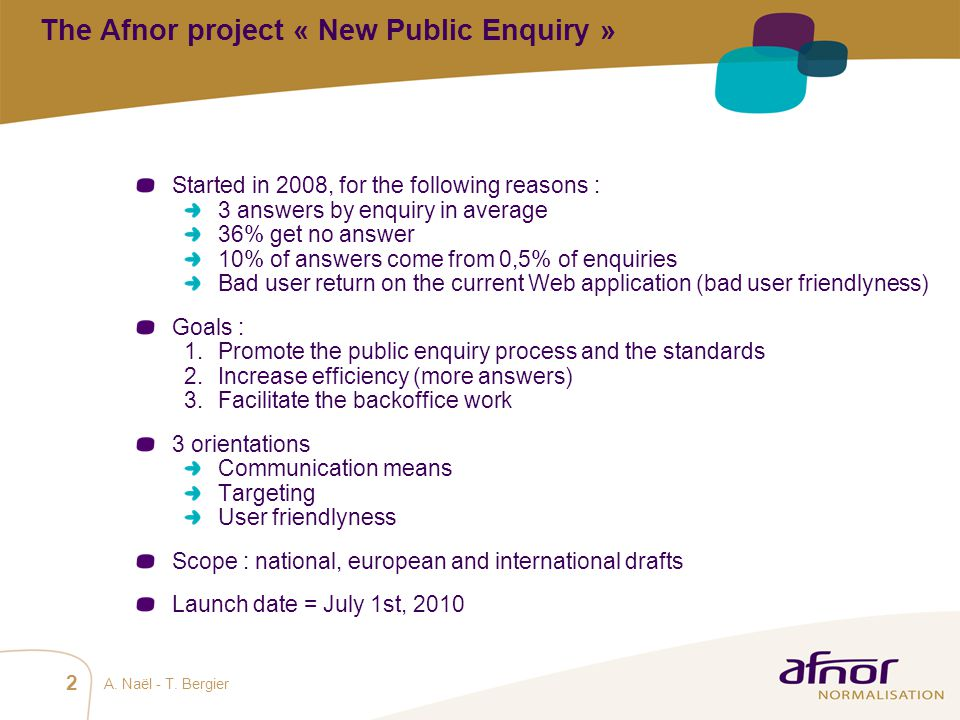 The Afnor project « New Public Enquiry »