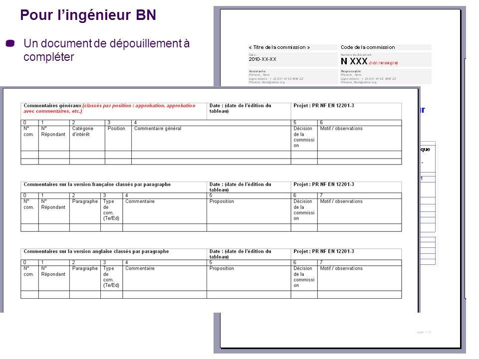 Pour l'ingénieur BN Un document de dépouillement à compléter