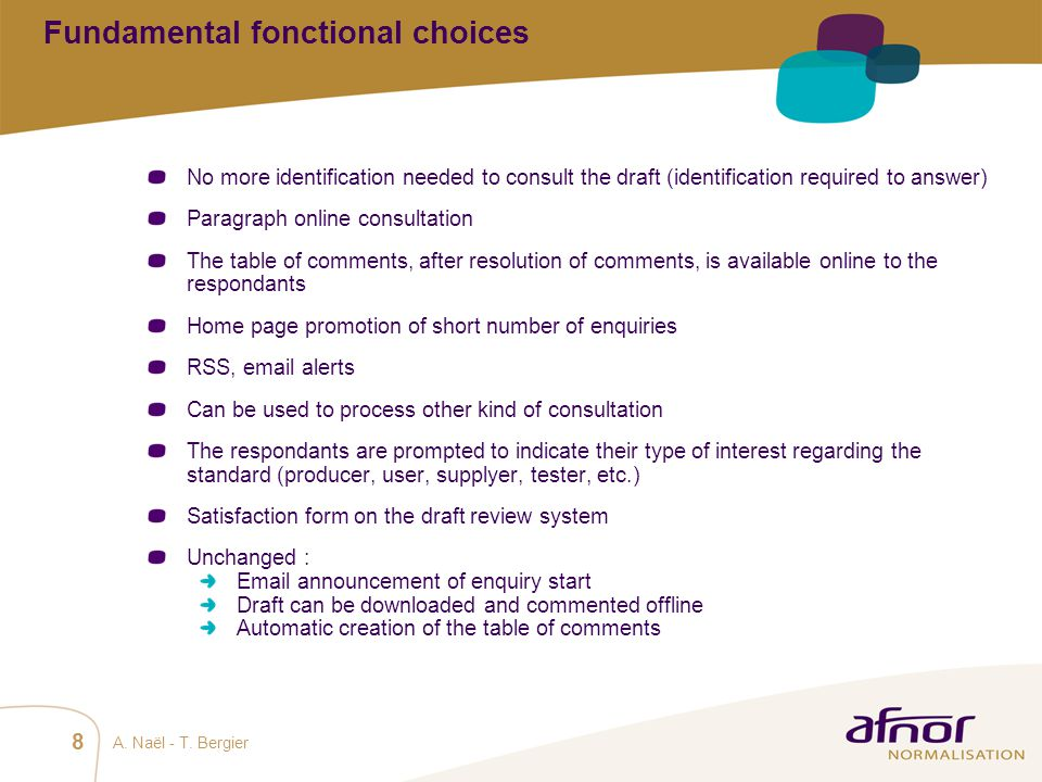 Fundamental fonctional choices