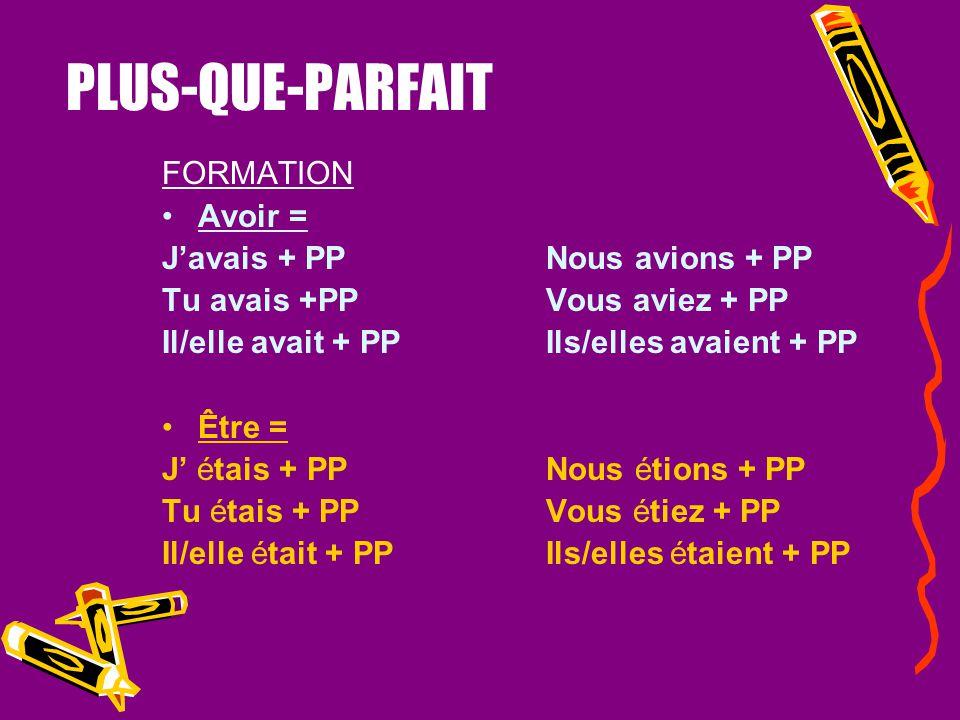 PLUS-QUE-PARFAIT FORMATION Avoir = J'avais + PP Nous avions + PP
