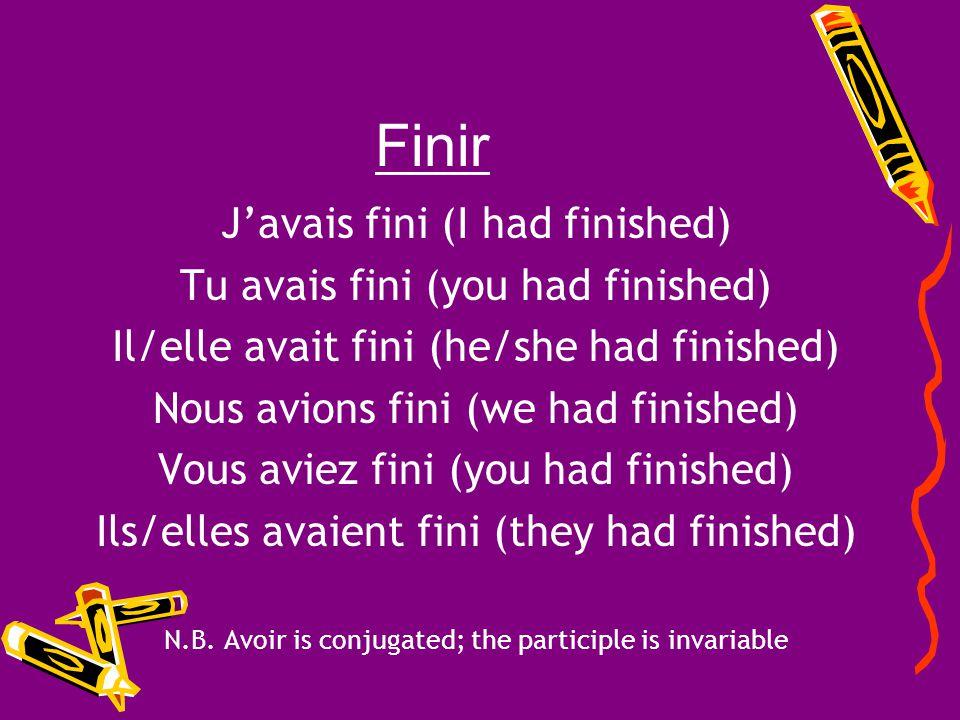Finir J'avais fini (I had finished) Tu avais fini (you had finished)