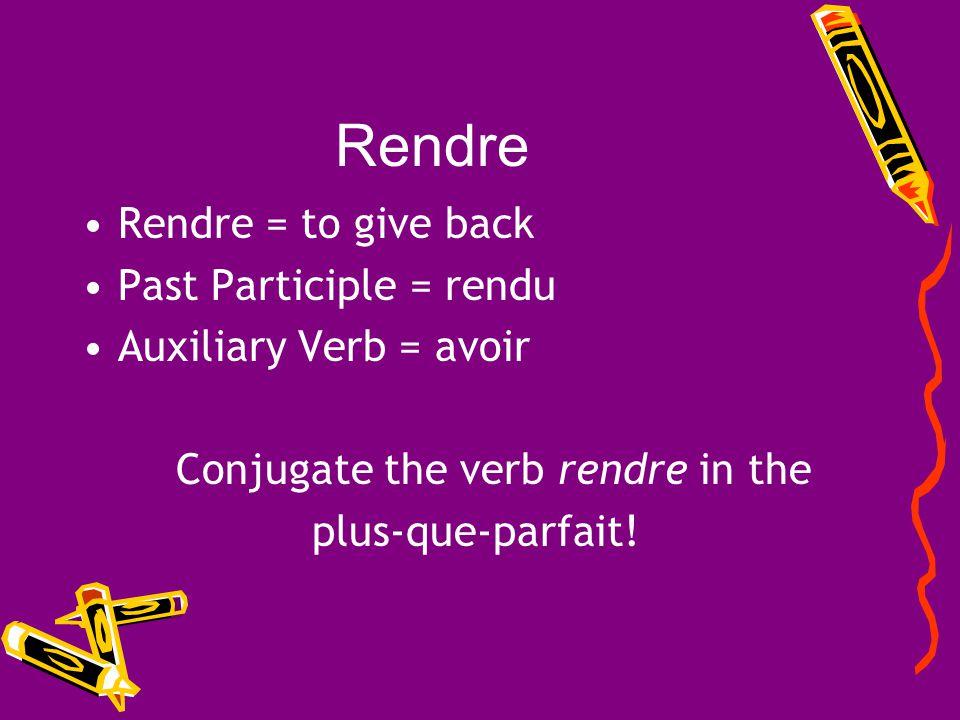 Conjugate the verb rendre in the