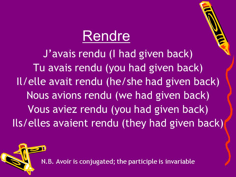 Rendre J'avais rendu (I had given back)